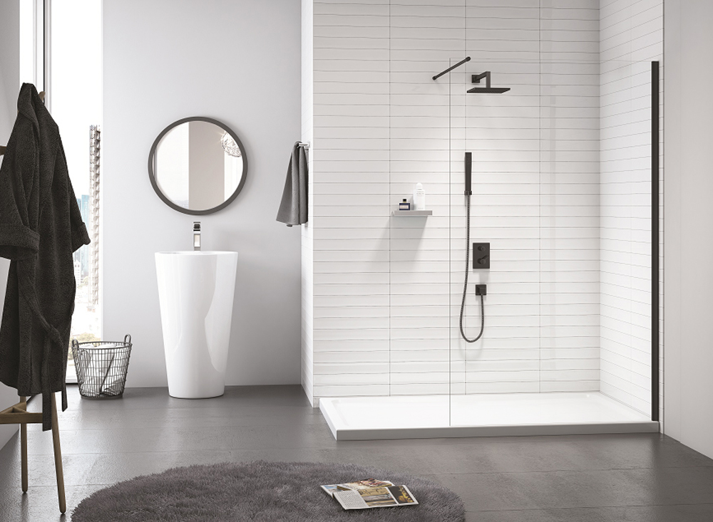 MERLYN Black Frameless Showerwall