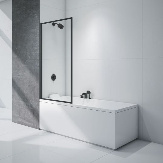 Merlyn Black Framed Bath Shower Screen Soakology
