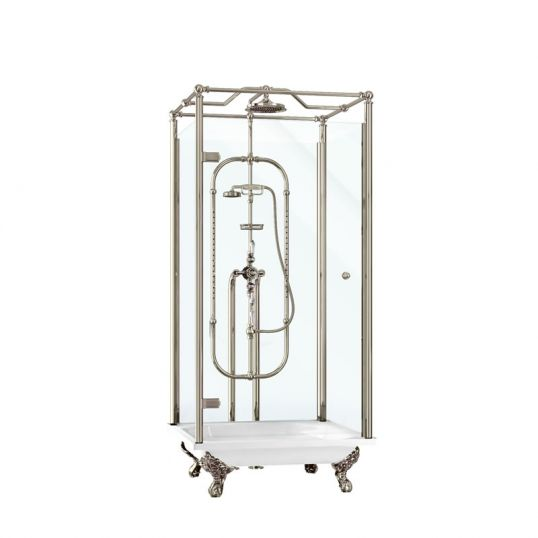 Piccadilly freestanding shower tray kits (including cradle, diverter, soap basket and exposed water pipes) - nickel
