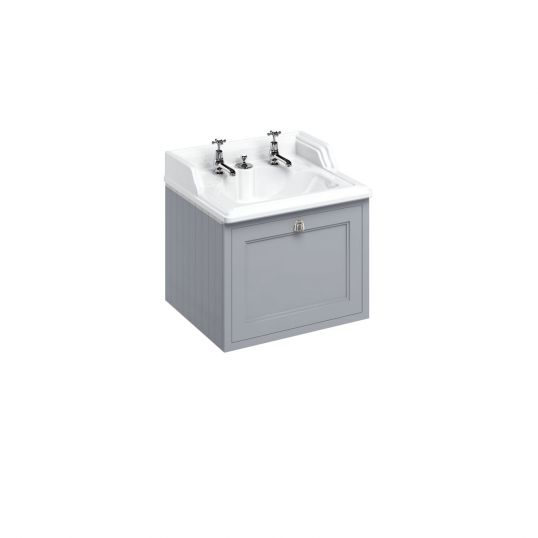 65cm Wall Hung Vanity Unit with Drawer and Hidden Overflow