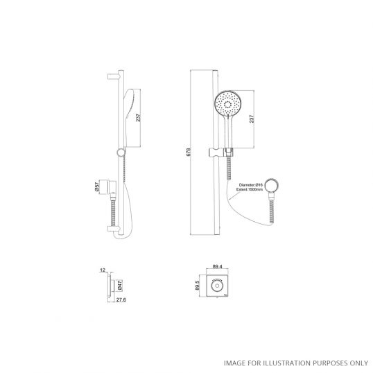Contemporary 2025 Single Outlet Shower Set Low