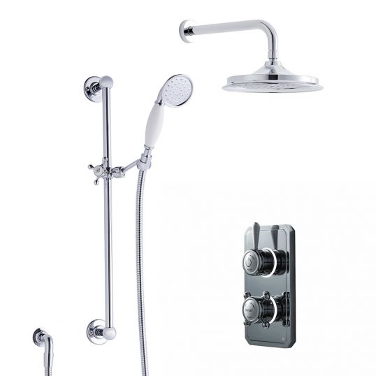 Classic 1910 Duel Outlet Wall Mounted Shower Set High 9