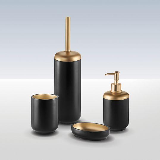Bathroom Origins Luxor Toilet Brush Black Gold